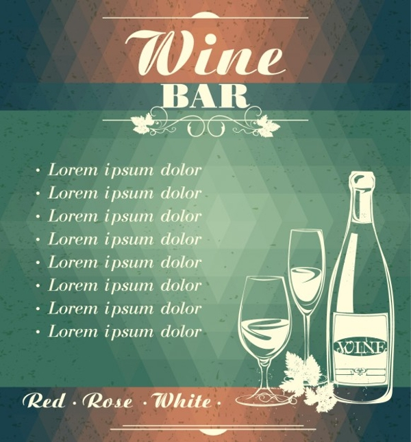 Wine Bar Menu Flyer Template