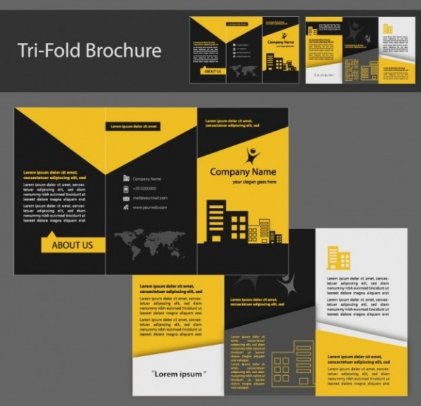 yellow and black tri fold brochure