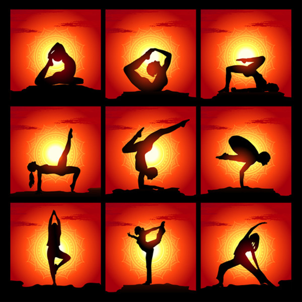 Yoga With Sunset Background Vector