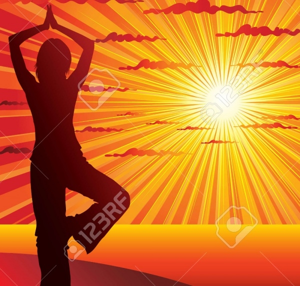 Young Slim Woman Yoga Vector