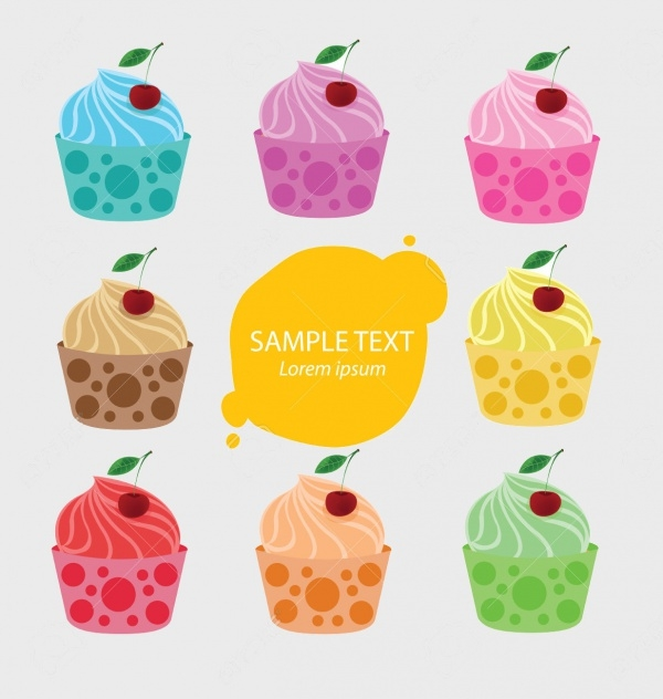 Yummy Cupcake Vectors Set