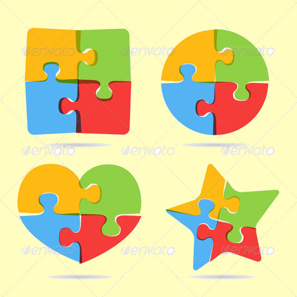 Zig Zag Puzzle Objects Vector