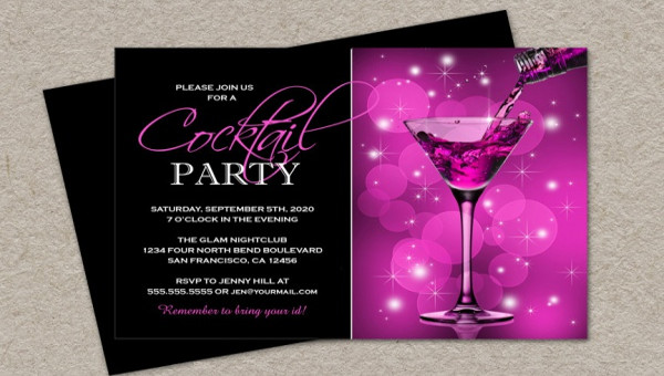 21 cocktail party invitations psd vector eps jpg for Cocktail party invite template