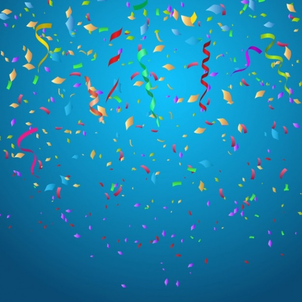 colorful confetti on blue background