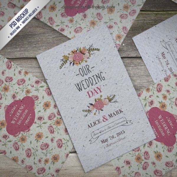 Wedding Invitation Mockup PSD