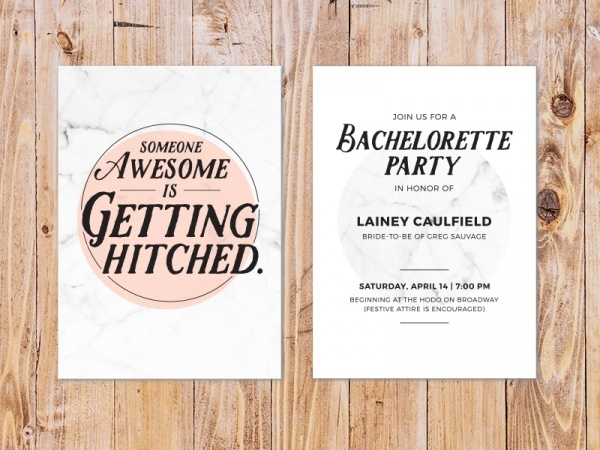 Bachelorette Typography Party Invitation