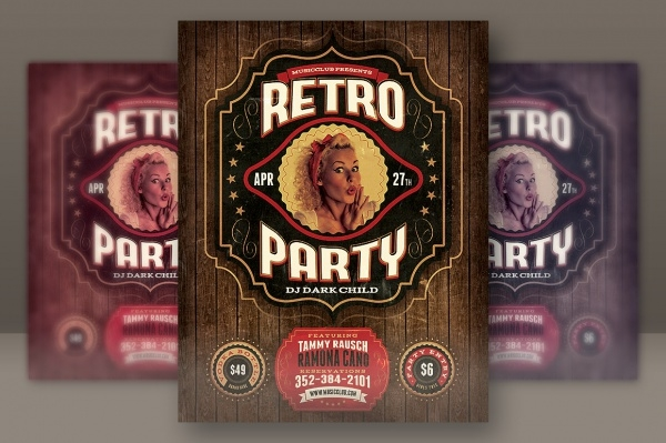 Vintage Retro Invitation PSD Flyer