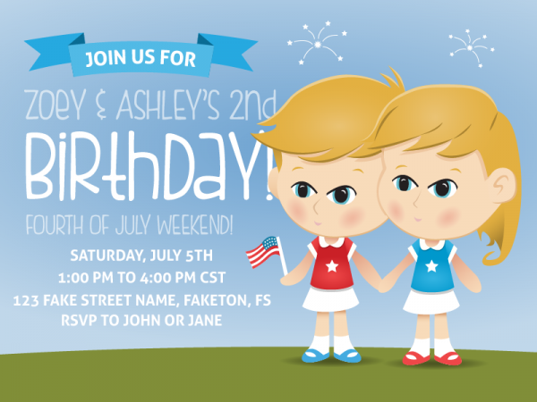 Cartoon Kids Birthday Party Invitation