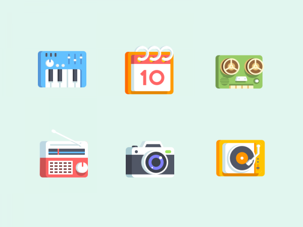 Retro Turntable 3D icons