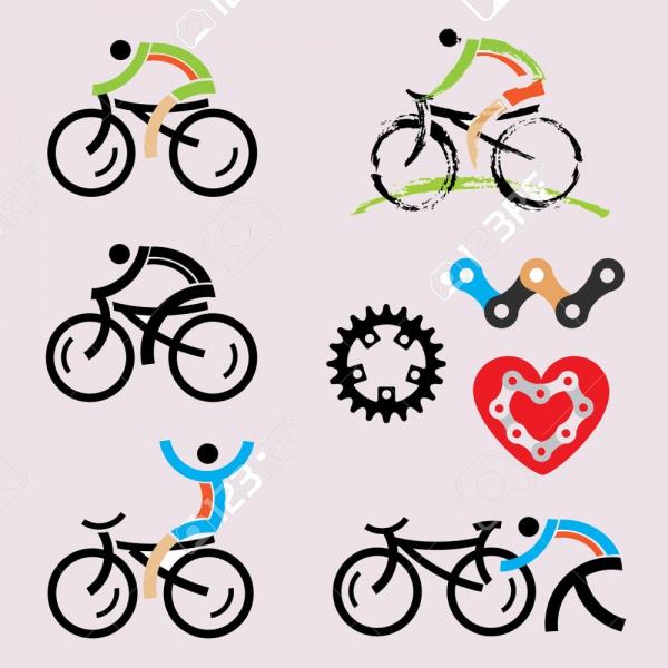 mountain biking cycling icons