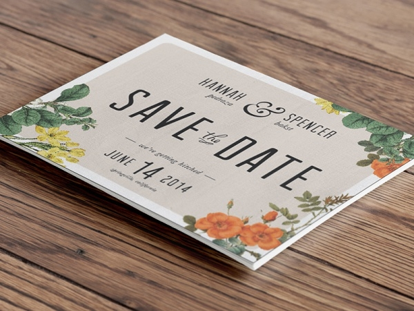 Typography Wood Floral Engagement invitation