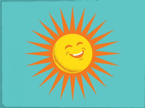 Retro Sun Illustration Design