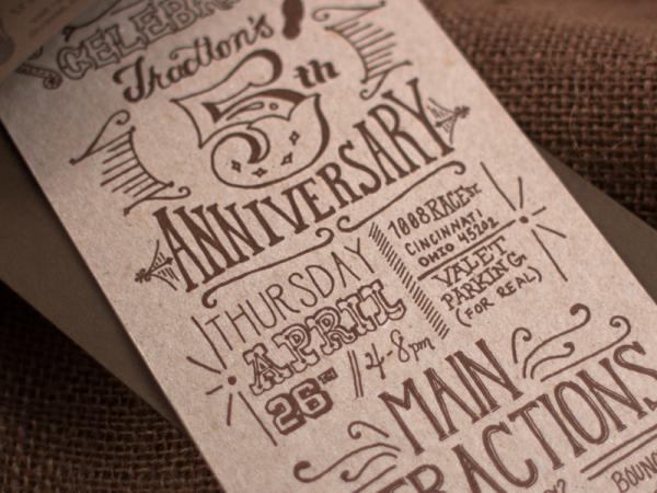 Hand Lettering Anniversary Invitation