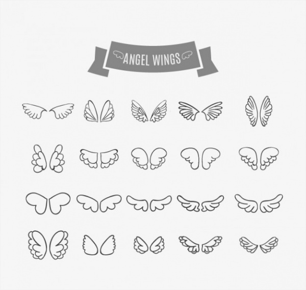 wings doodles set Graphic Vector