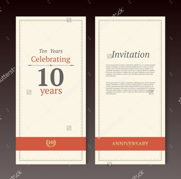 10th Anniversary Invitation Card Template