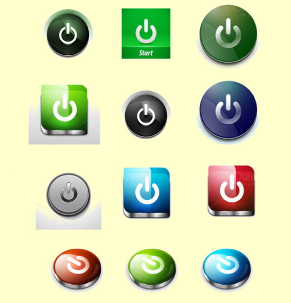 15 Glossy Power Buttons