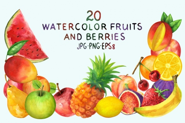 20 Watercolor Fruit Illustration Design