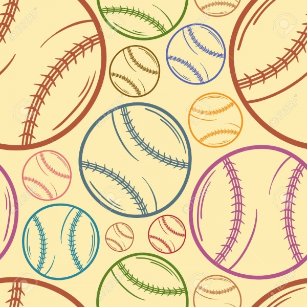 Sketch Baseball Seamless Pattern