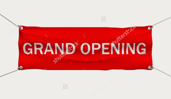 3D Isolated Grand Opening Banner