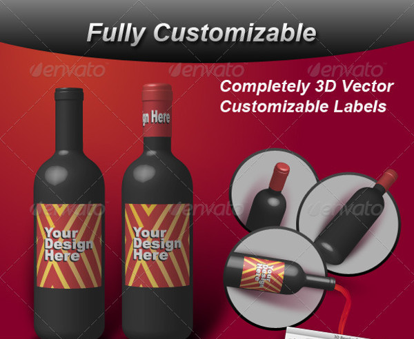 3D Wine Bottle Vector