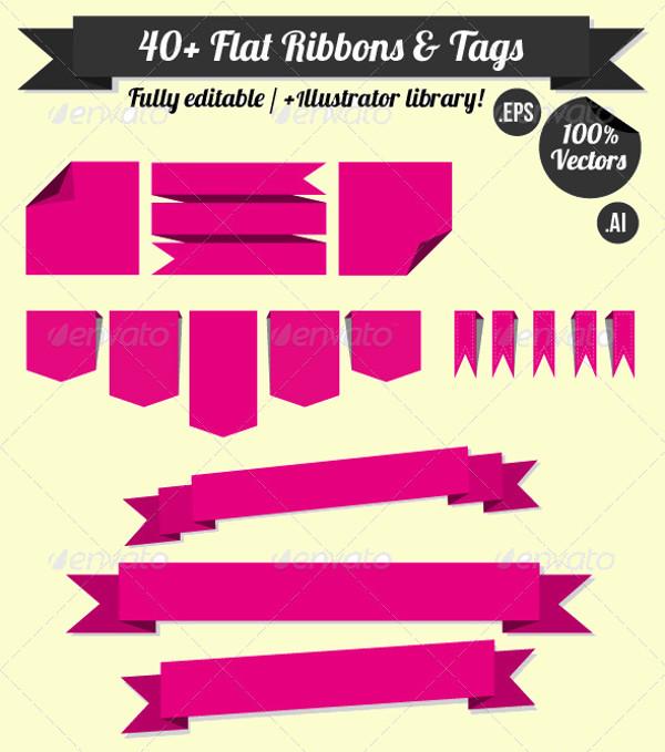 40+ Flat Vector Ribbons & Tags