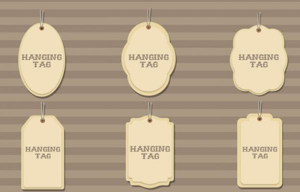 6 Vector Hanging Cardboard Tags