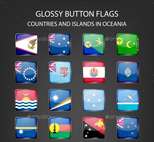Abstract Glossy Button Flags