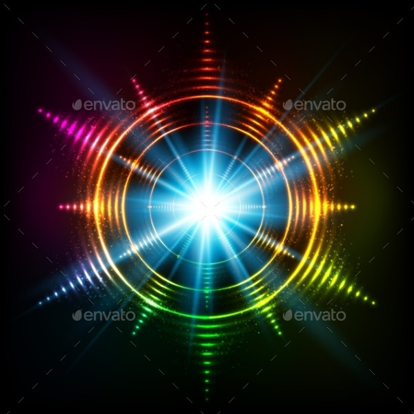 Abstract Rainbow Neon Spirals Vector