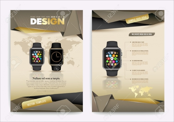 abstract vector smart watch device brochure