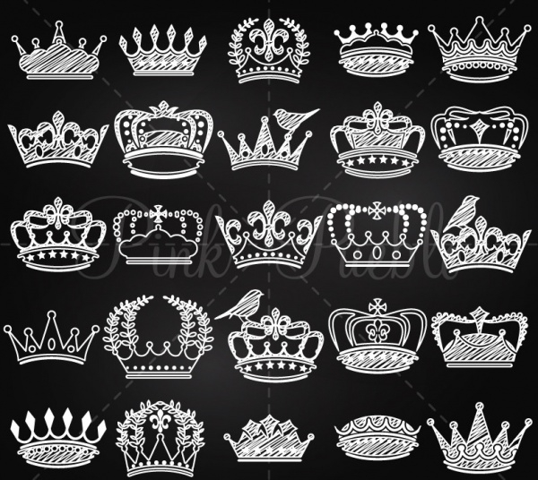 Abstract White & Black Crown Clipart
