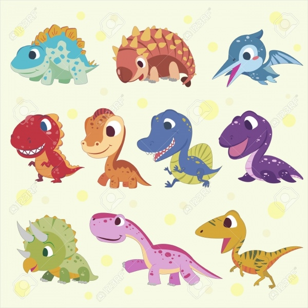Adorable Cartoon Dinosaur Clipart Collections