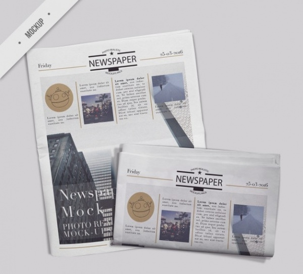 Advertising Folded Newspaper With Cover