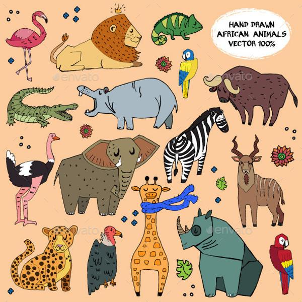African Animal Graphic Illustration