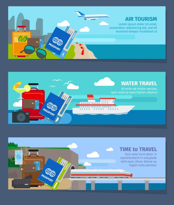 Air & Water Tourism Travel Banners