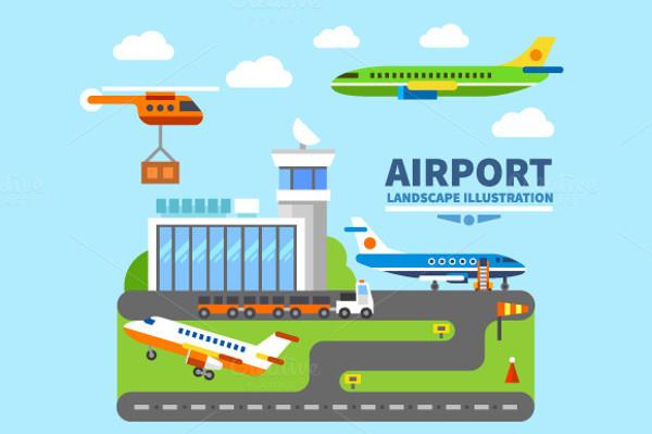 Airport Landscape Digital Illustration
