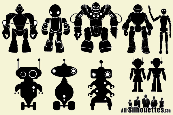 Amazing Vector Robot Silhouettes