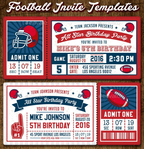 American Football Invites Print Template