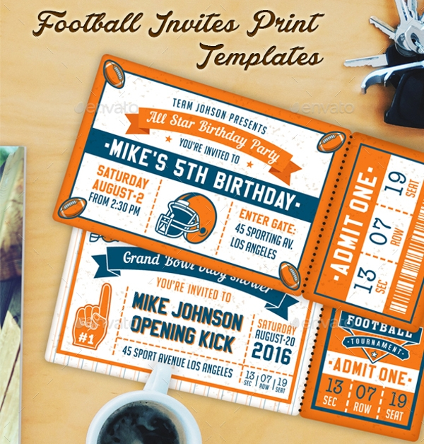 American Football Themed Party Invites
