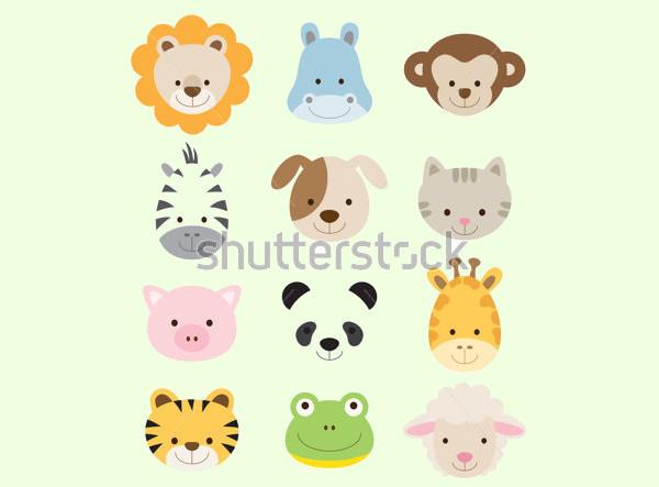 Animal Faces Illustration