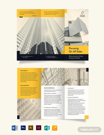 apartment condo property management tri fold brochure template