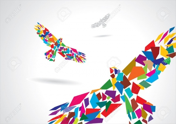 Artistic polygonal Bird Illustration