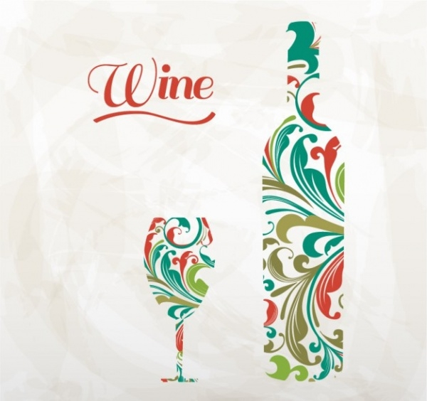Artistic wine bottle and glass Vector