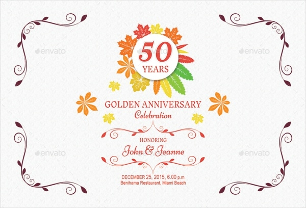 Autumn Anniversary Invitation Card Design
