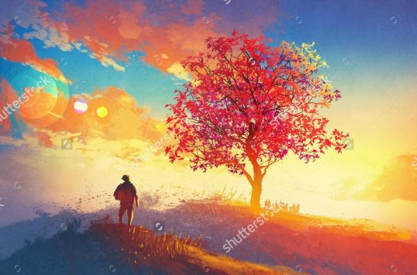 Autumn PAinting Landscape Illustration