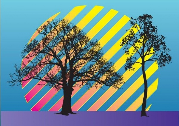Autumn Tree Stripes Vector Illustration