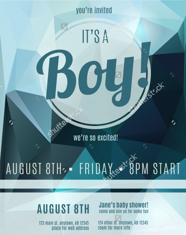 Baby Shower Boy Birth Announcement Flyer