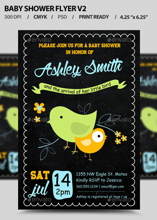 Baby Shower Photoshop PSD Flyer