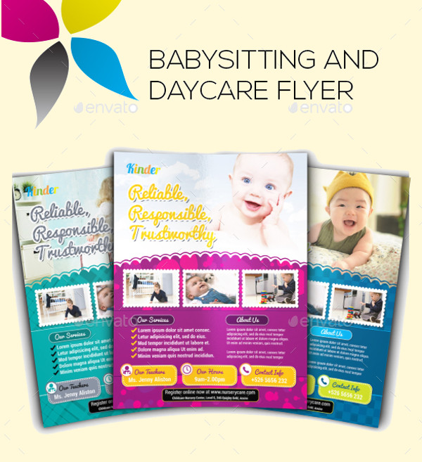 17 babysitting flyer templates psd ai illustrator download for Daycare brochure template