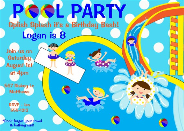 back to pool party invitation
