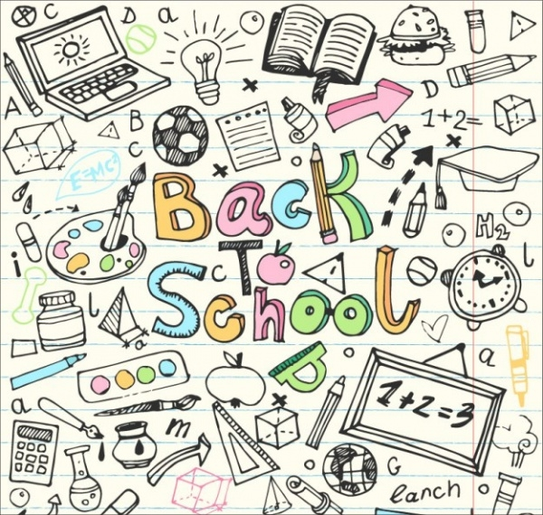 Back to School Sketches Doodle Vector